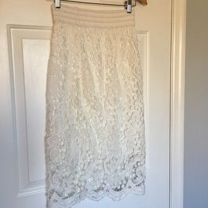 Dresses & Skirts - White Floral Lace Skirt size small/medium S/M